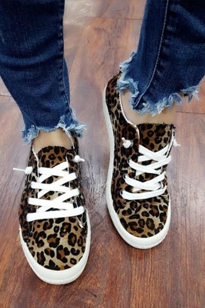 Comfortable Classic Canvas Sneakers-Leopard Print
