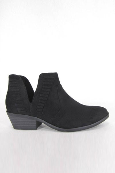 Stitch Ankle Slit Cutout Faux Suede Closed Toe Ankle Booties-Black