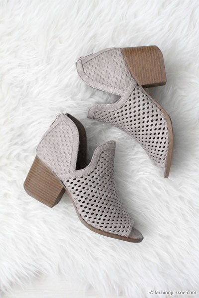 Perforated Ankle Slit Open Peep Toe Booties-Grey