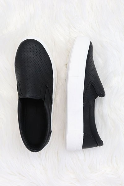 Platform Perforated Casual Slip On Flat Shoes Sneakers-Black