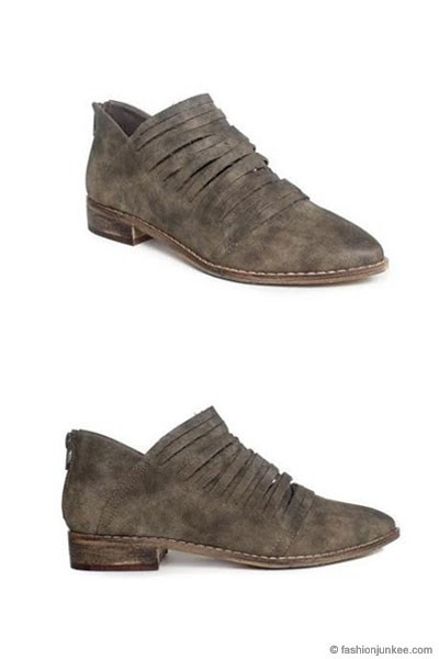 Boho Faux Suede Cut Multi Straps Ankle Booties with Flat Heel-Grey