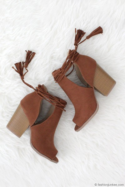 Boho Faux Suede Lace Up Cutout Ankle Booties with Stacked Heel-Camel Brown