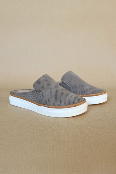 Open Back Perforated Casual Slip On Flat Sneakers Shoes-Taupe