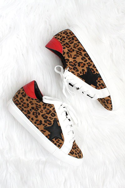 FLASH DEAL: Lace Up Low Top Star Sneakers-Leopard Print