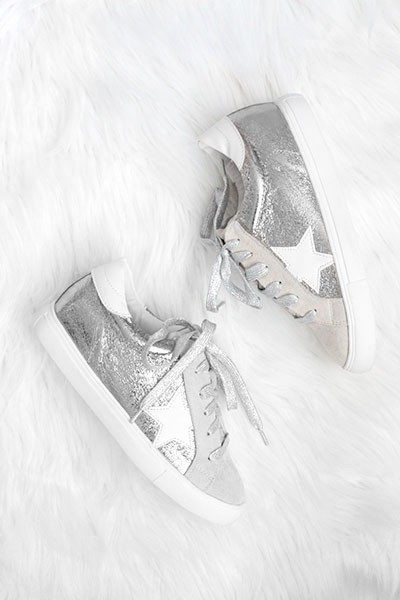 Metallic Lace Up Low Top Star Sneakers-Silver