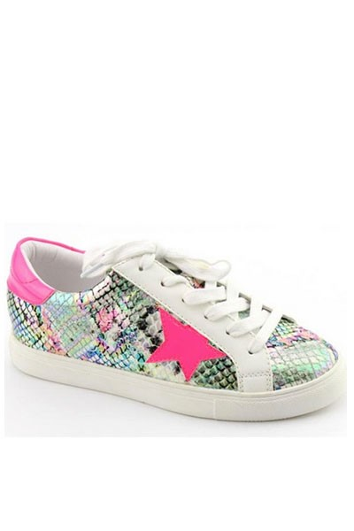 Snake Print Lace Up Low Top Star Sneakers-Neon Pink