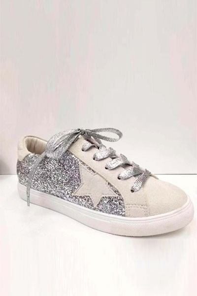 Glitter Metallic Lace Up Low Top Star Sneakers-Silver