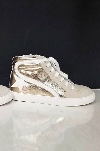 High Top Metallic Lace Up Low Top Star Sneakers-Gold