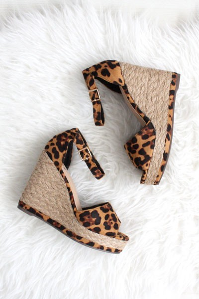 356fd8c797a Ankle Strap Wedge Espadrille Platform Sandals with Open Peep Toe -Leopard  Print