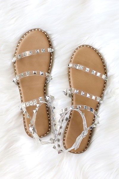 Clear Strappy Studded Sandals with Ankle Strap and Gold Trim-Tan & Clear