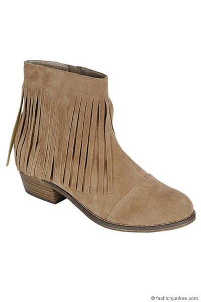 FLASH SALE: Boho Indie Faux Suede Fringe Ankle Booties with Stacked Heel-Beige Taupe