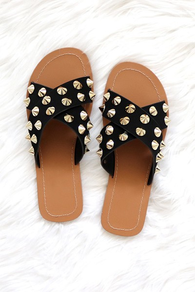Cross Band X Strap Studded Sandals-Black