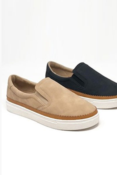 Casual Faux Suede Slip On Shoes with Trim-Taupe