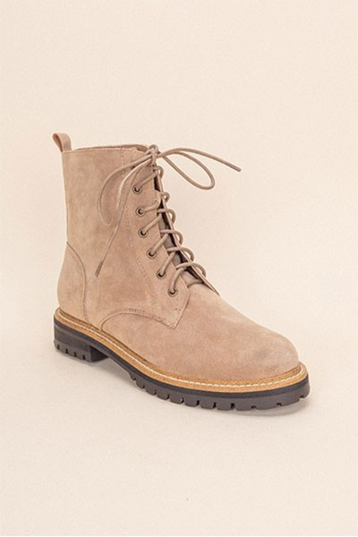 Faux Suede Lace Up Hiking Military Combat Boots-Khaki Taupe