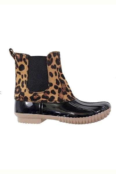 Animal Print Slip On Rubber Duck Boots-Black & Leopard Print