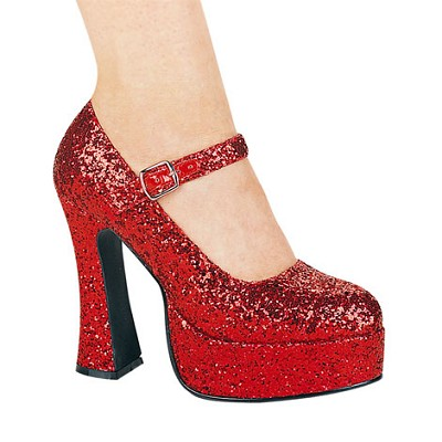 "Sexy Chunky Heel Glitter Mary Jane Shoes, Halloween ""Ruby Red Slippers""-Red"