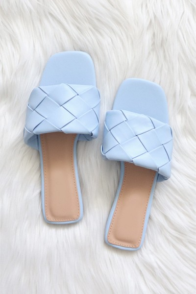 Woven Single Band Slides Sandals-Light Blue