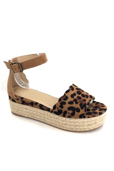 Scallop Ankle Strap Wedge Low Flat Espadrille Sandals-Leopard Print