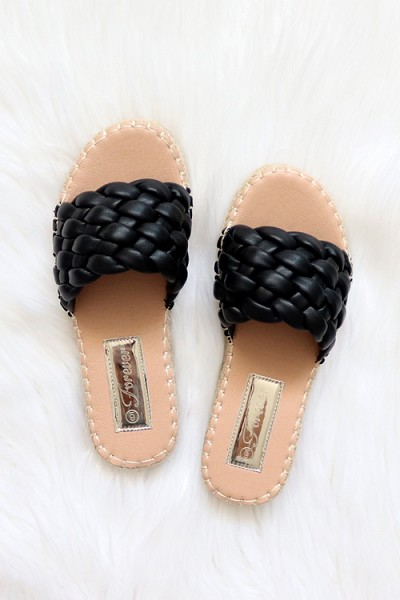 Braided Woven Espadrille Sandals Slides-Black