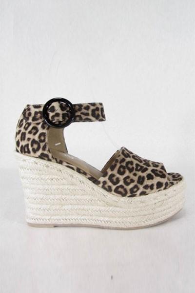 5371870c8de1 Faux Suede Open Peep Toe Ankle Strap Wedge Espadrille Sandals-Leopard Print