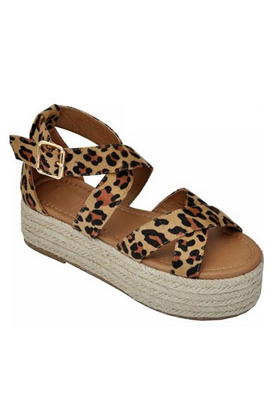 Strappy  Espadrille Low Flat Wedge Sandals-Leopard Print