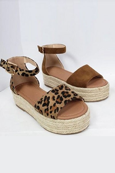 Espadrille Low Platform Flats Sandals with Thin Ankle Strap-Leopard Print