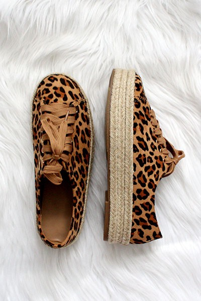 Animal Print Lace Up Espadrille Wedge Sneakers-Leopard Print
