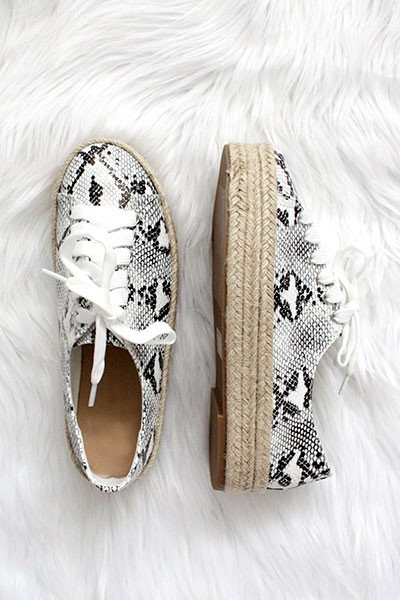 Animal Print Lace Up Espadrille Wedge Sneakers-Snake Skin Print