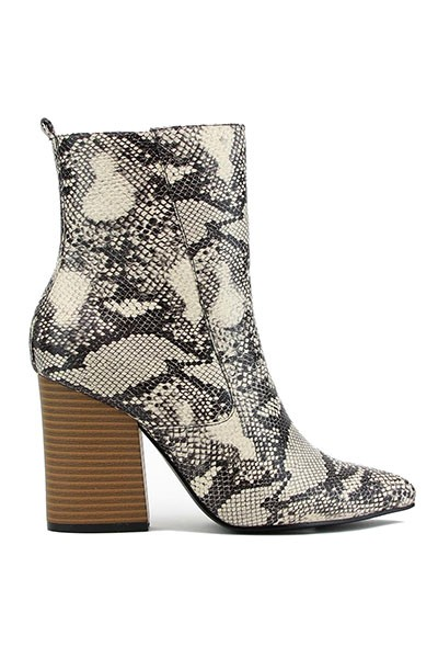Faux Leather Closed Toe Boots with Chunky Heel-Snake Skin