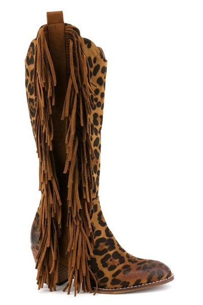 Western Closed Toe Faux Suede Tall Boots with Side Fringe-Leopard Print