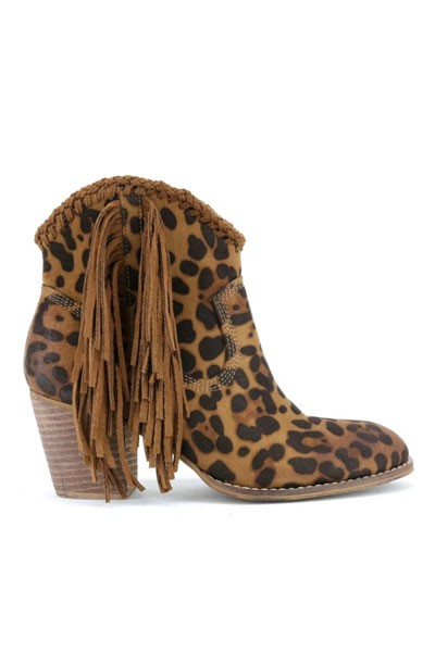 Faux Suede Animal Print Closed Toe Fringe Booties with Braided Detail-Leopard Print