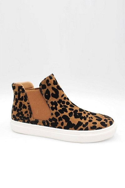 Casual High Top Slip On Flat Sneakers Shoes-Leopard Print