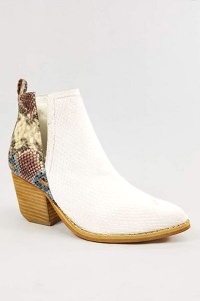 Stacked Heel Ankle V-Slit Side Cutout Closed Toe Booties -White & Multi-Colored Snake Print