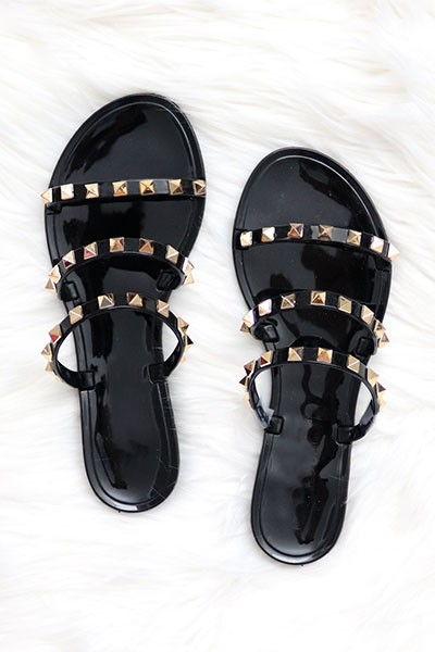 Studded Straps Jelly Flats Sandals-Black