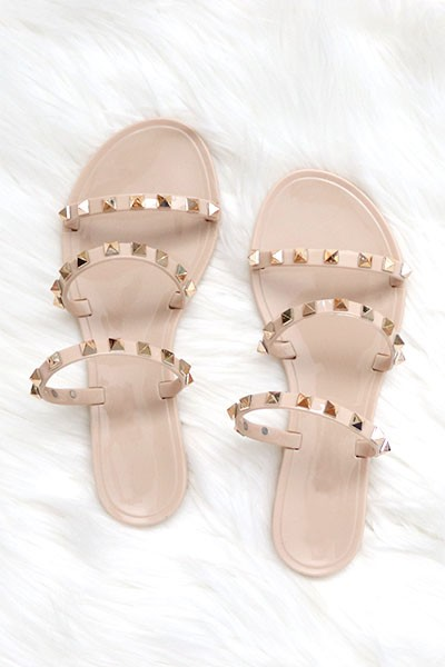 Studded Straps Jelly Flats Sandals-Nude Beige