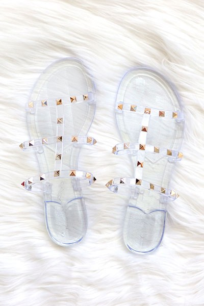FLASH DEAL: Strappy Studded Flip Flops Jelly Sandals-Clear (Size 6)