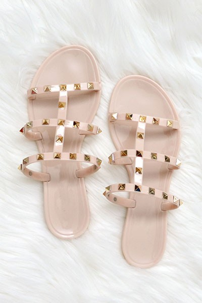 FLASH DEAL: Strappy Studded Flip Flops Jelly Sandals-Nude Beige (Size 6, 10)