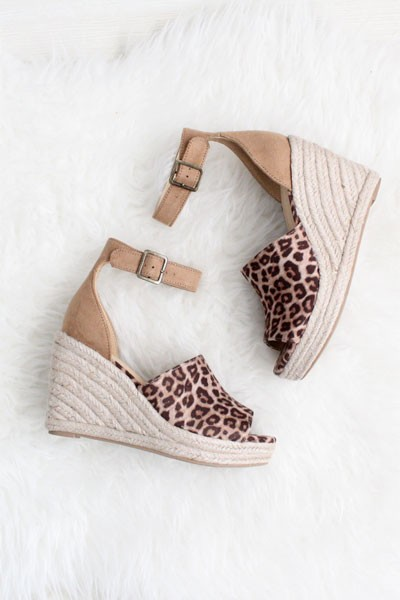 7cbaf09f8c4 Faux Suede Open Peep Toe Ankle Strap Wedge Espadrille Sandals-Cheetah Print