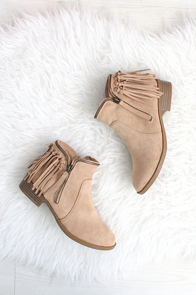 Close Toe Faux Suede Back Fringe Zipper Booties-Taupe