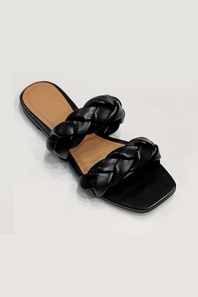 Braided Two Strap Woven Sandals Slides-Black
