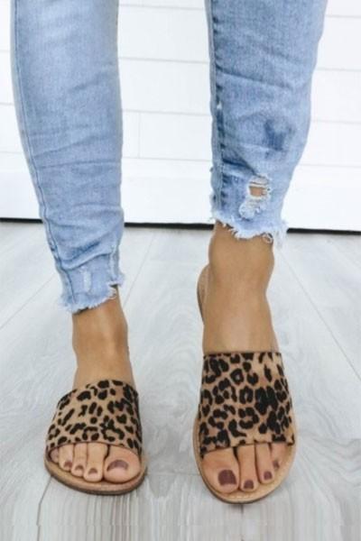 single band animal print sandals slides leopard print