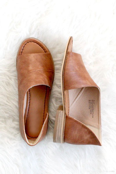FLASH DEAL! ENDS SOON - Open Toe Faux Leather Side Cutout Flats-Cognac Brown (SIZE 6, 6.5)