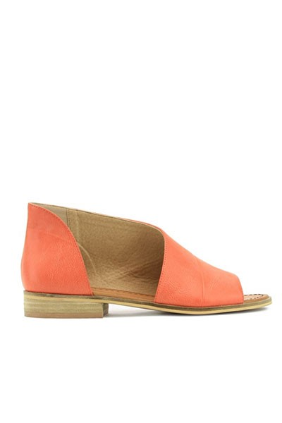 Open Toe Faux Leather Side Cutout Flats-Coral