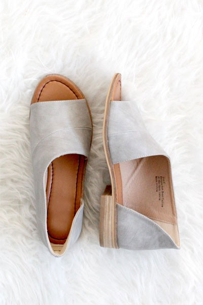 Open Toe Faux Leather Side Cutout Flats-Grey