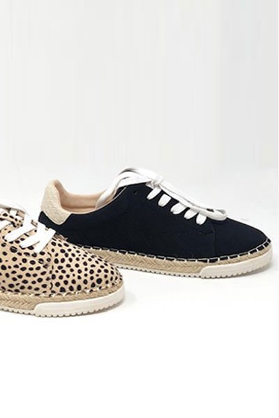 Animal Print Lace Up Espadrille Sneakers-Black