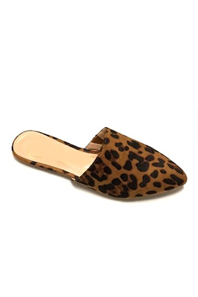 Closed Toe Pointy Toe Flat Mules Slides-Leopard Print