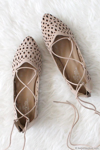 FLASH DEAL: Laser Cut Pointy Toe Lace Up Ballet Flats-Nude