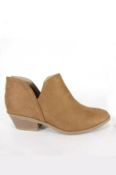 Boho Ankle Cutout Faux Suede Booties with Low Heel-Brown