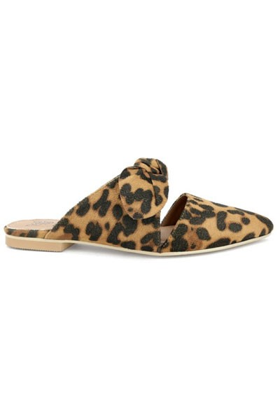 Closed Toe Bow Flats Slides-Leopard Print