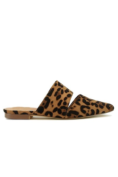 Center Slit Cutout Pointy Toe Closed Toe Flat Mules Sandals Slides-Leopard Print